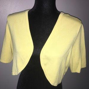 Yellow Crop Cardigan Sweater